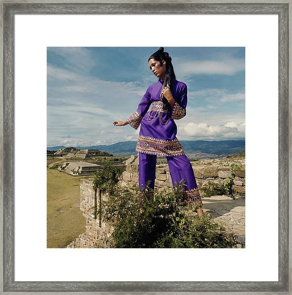 Marina Schiano Wearing A Purple Ensemble Framed Print