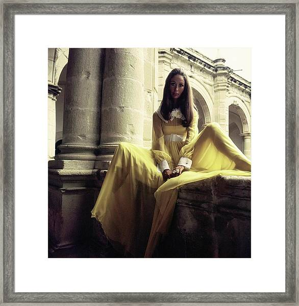 Marina Schiano Wearing A Yellow Dress Framed Print