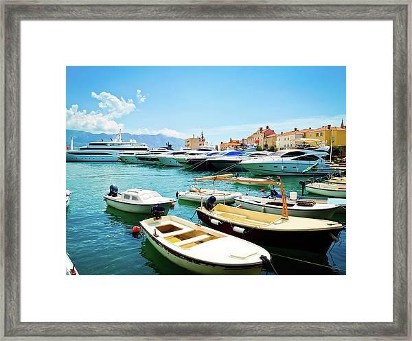 Marina With Yachts In Budva, Budvanska Framed Print