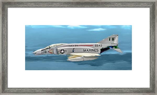 Marine F-4 Phantom  Painting Framed Print