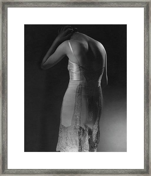 Marion Morehouse Wearing A Corset Framed Print