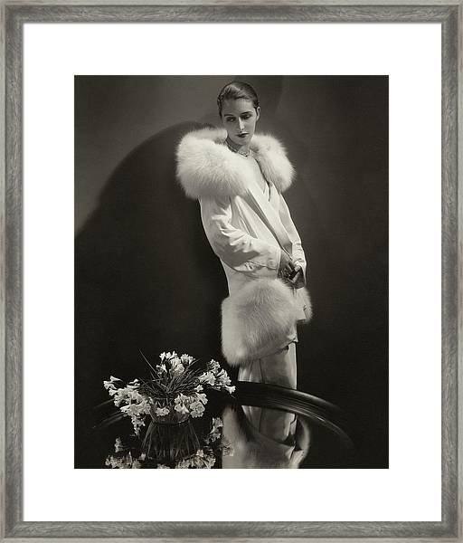 Marion Morehouse Wearing An Augustabernard Jacket Framed Print