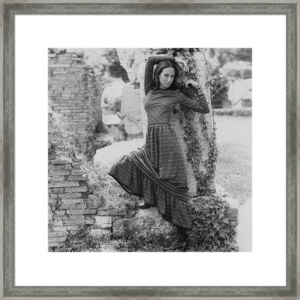 Marisa Berenson Wearing A Dress Framed Print