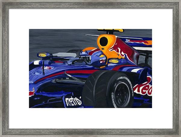 Mark Webber R B R Charging 2008  Framed Print