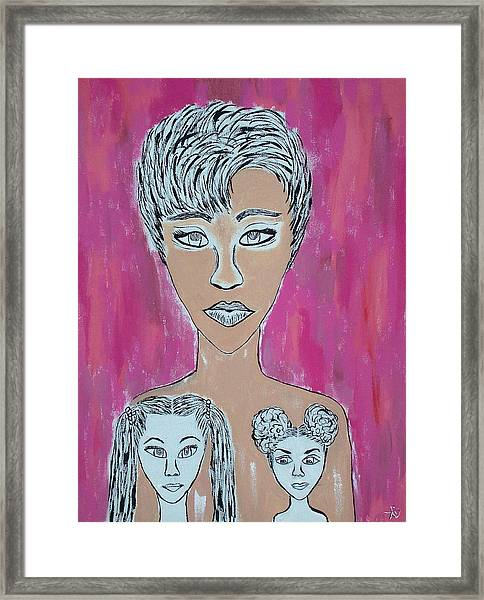 Mother And Daughters Painting And Drawing Framed Print