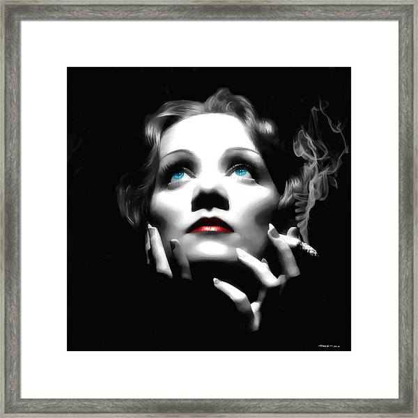 Marlene Dietrich Portrait Framed Print