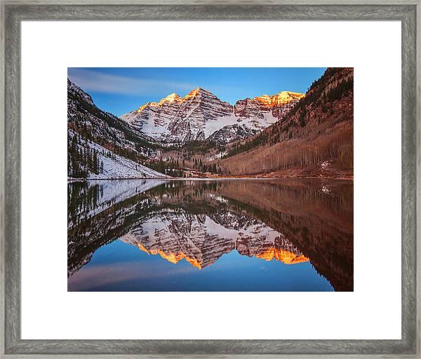 Maroon Bells Alpenglow Framed Print