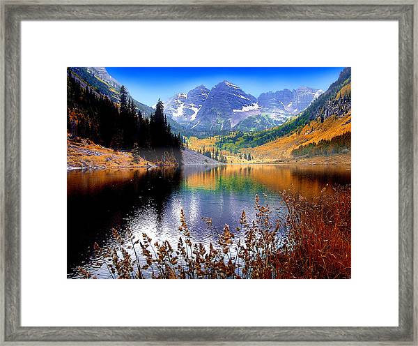 Maroon Bells At Maroon Lake Framed Print