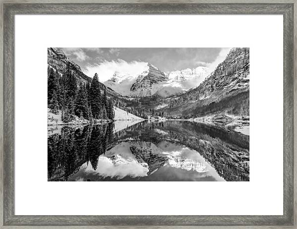 Maroon Bells Bw Covered In Snow - Aspen Colorado Framed Print