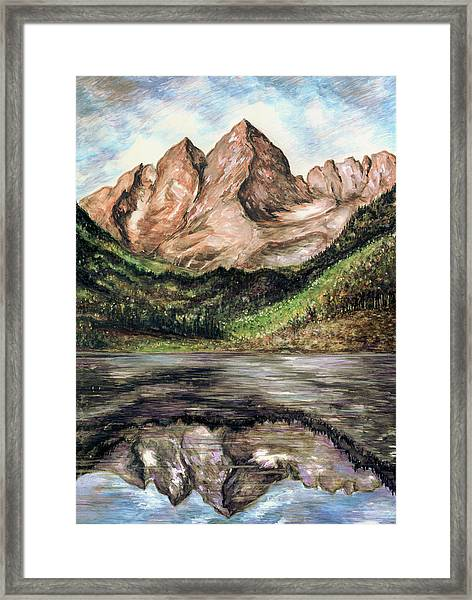 Maroon Bells Colorado - Landscape Painting Framed Print