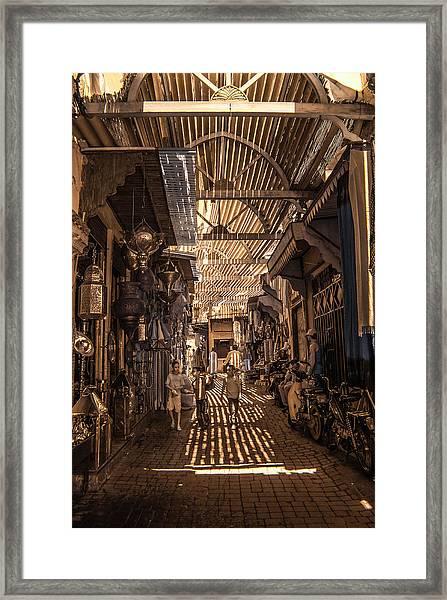 Marrakech Souk With Children Framed Print