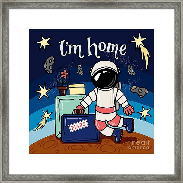 Mars Astronaut, An Astronaut In Front Framed Print by Maria Letta