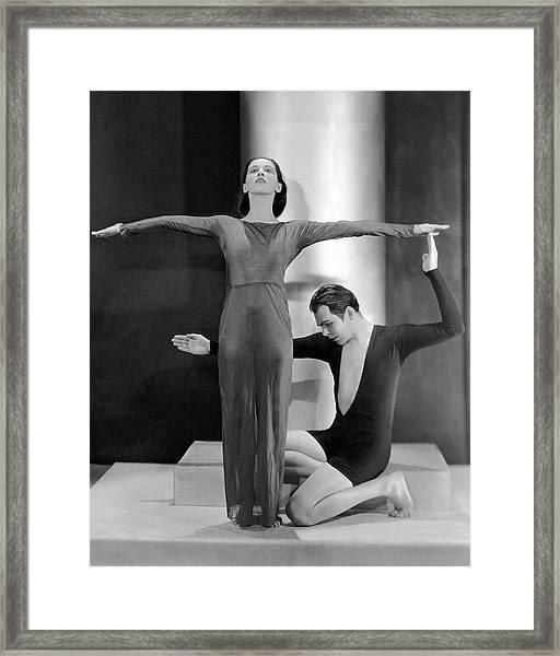 Martha Graham Posing With Charles Weidman Framed Print