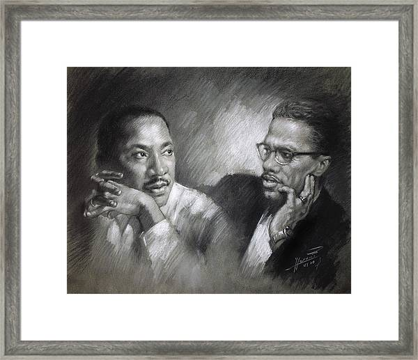 Martin Luther King Jr And Malcolm X Framed Print