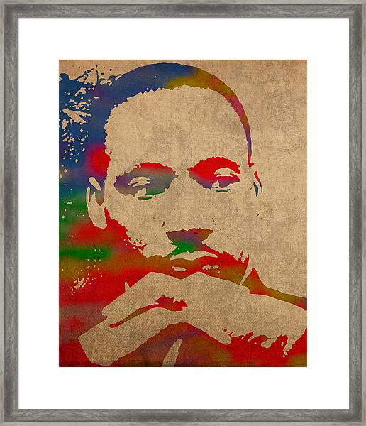 Martin Luther King Jr Watercolor Portrait On Worn Distressed Canvas Framed Print