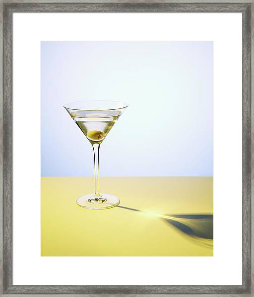 Martini In Martini Glass With Olive Framed Print