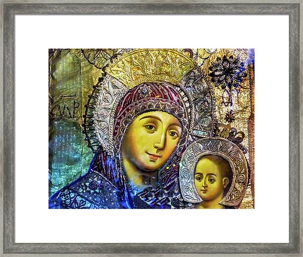 Mary And Jesus Icon, Greek Orthodox Framed Print by William Perry