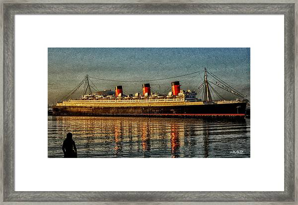 Mary Watches The Queenmary Framed Print