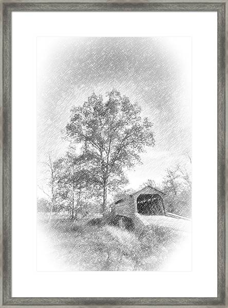 Maryland Covvered Bridge In Pencil Framed Print
