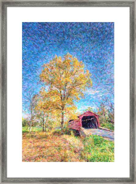Maryland Covvered Bridge Oil Painting Framed Print