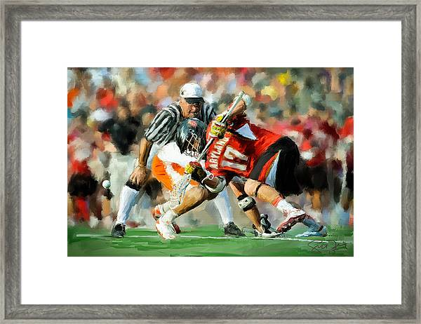 College Lacrosse Faceoff 2 Framed Print