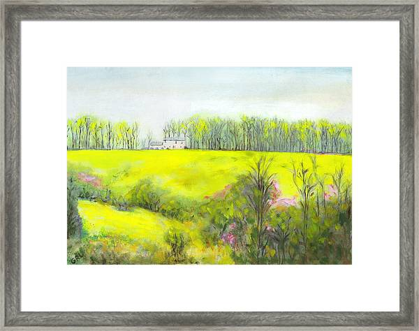 Framed Print featuring the painting Maryland Landscape Springtime Rt40 East Original Painting by G Linsenmayer