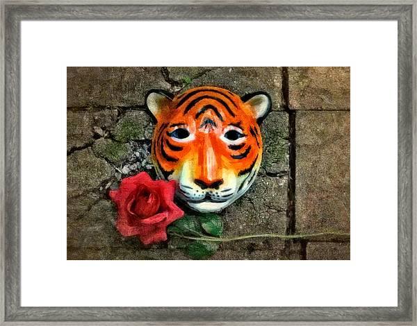Mask And Rose Framed Print