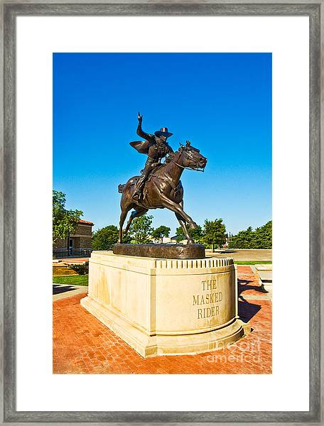 Framed Print featuring the photograph Masked Rider Statue by Mae Wertz