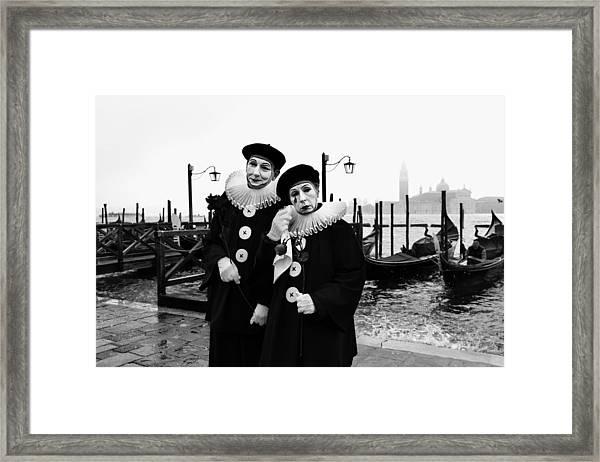 Masks In Venice Framed Print