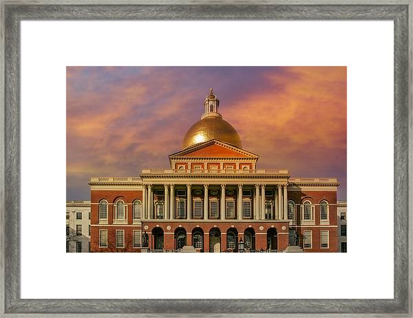 Framed Print featuring the photograph Massachusetts State House by Susan Candelario