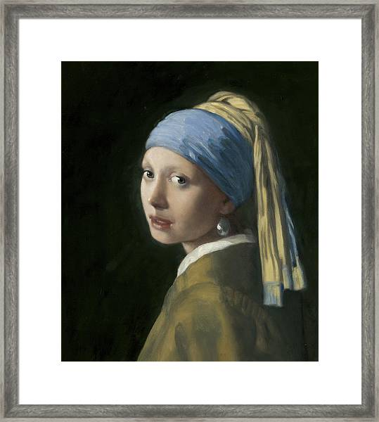 Master Copy Of Vermeer Girl With A Pearl Earring Framed Print