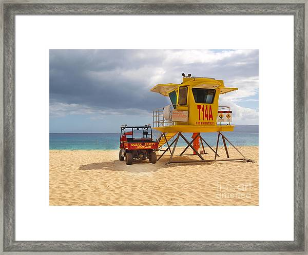 Maui Lifeguard Tower Framed Print