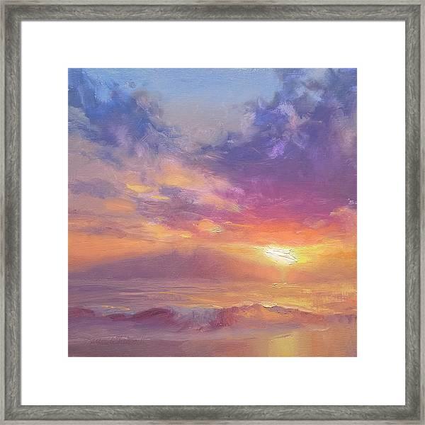 Coastal Hawaiian Beach Sunset Landscape And Ocean Seascape Framed Print