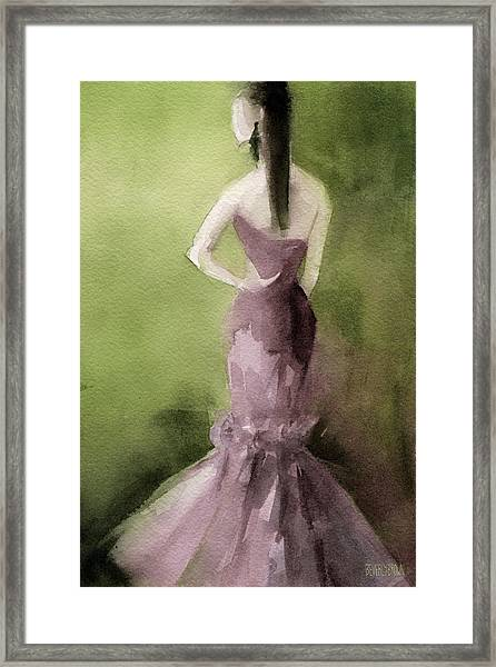 Mauve Evening Gown Fashion Illustration Art Print Framed Print