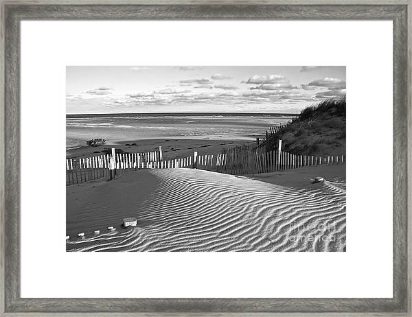 Mayflower Beach Black And White Framed Print