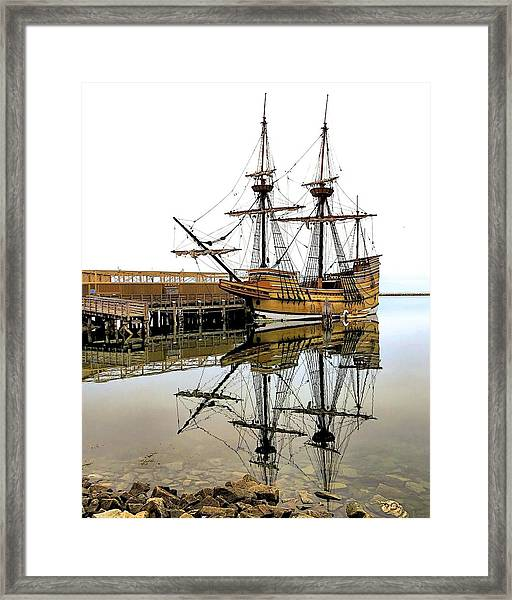Mayflower II Reflections Framed Print by Janice Drew