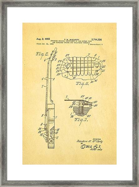 Mccarty Gibson Les Paul Guitar 2 Patent Art 1955 Framed Print by Ian Monk