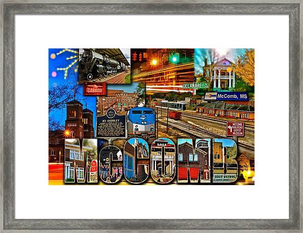 Mccomb Mississippi Postcard 2 Framed Print
