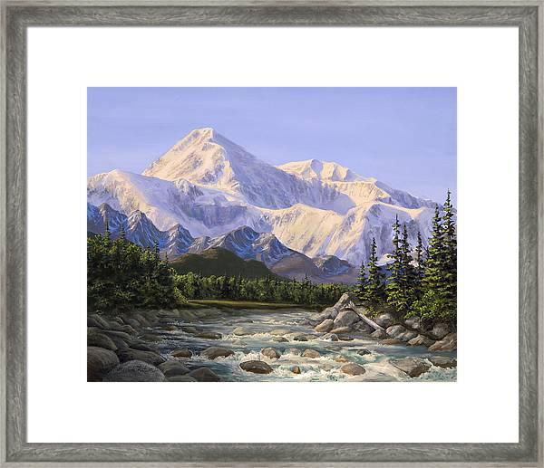 Majestic Denali Mountain Landscape - Alaska Painting - Mountains And River - Wilderness Decor Framed Print