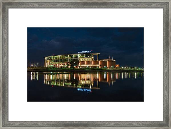 Mclane Stadium At Night Framed Print