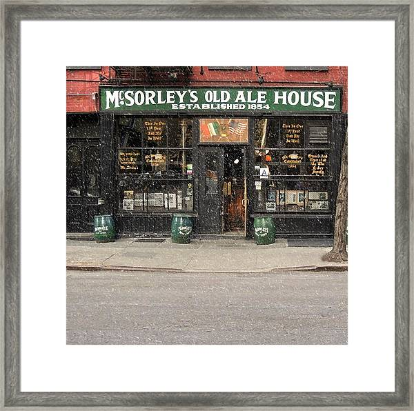 Mcsorley's Old Ale House During A Snow Storm Framed Print