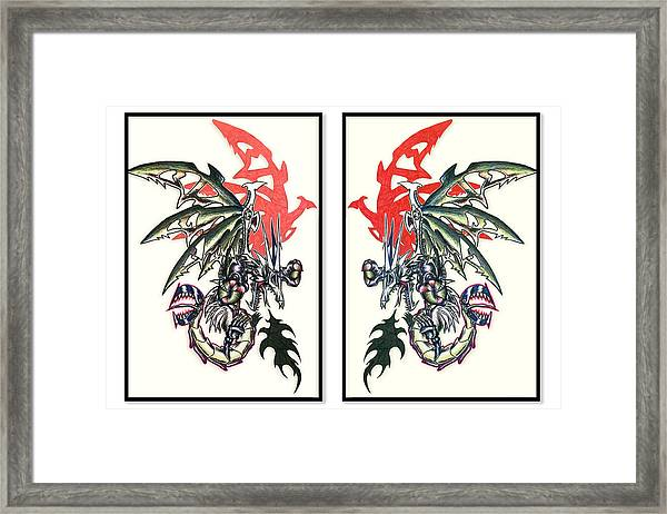 Mech Dragons Collide Framed Print