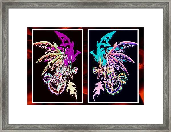 Mech Dragons Pastel Framed Print