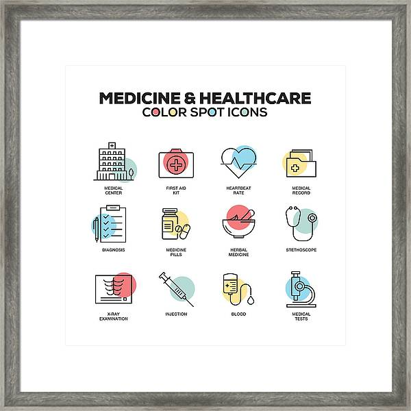 Medicine And Healthcare Icons. Vector Line Icons Set. Premium Quality. Modern Outline Symbols And Pictograms. Framed Print by Cnythzl