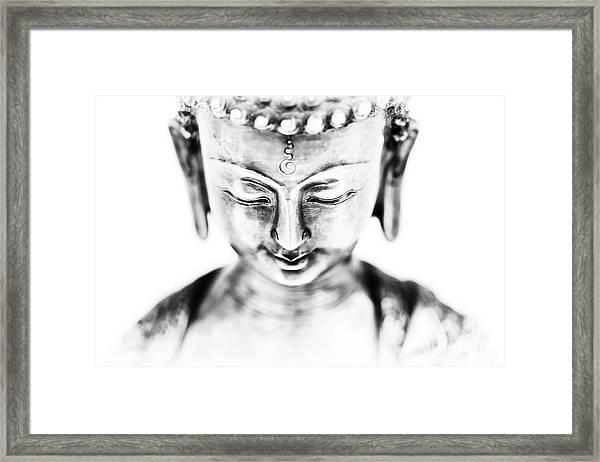 Medicine Buddha Monochrome Framed Print by Tim Gainey