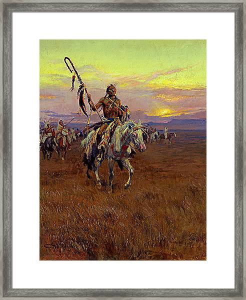 Framed Print featuring the painting Medicine Man by Charles Marion Russell