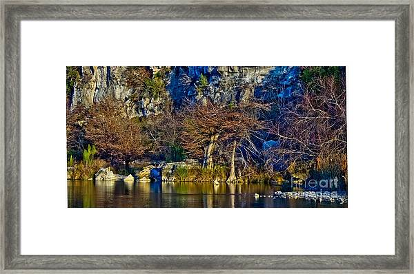 Medina River At Comanche Cliffs Framed Print