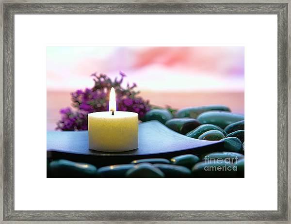 Meditation Candle Framed Print