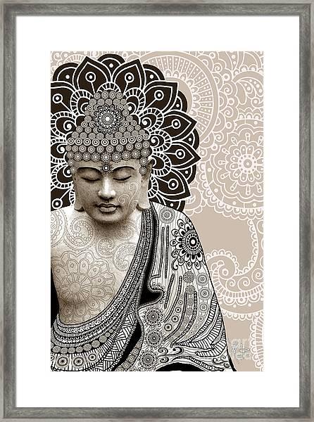 Meditation Mehndi - Paisley Buddha Artwork - Copyrighted Framed Print