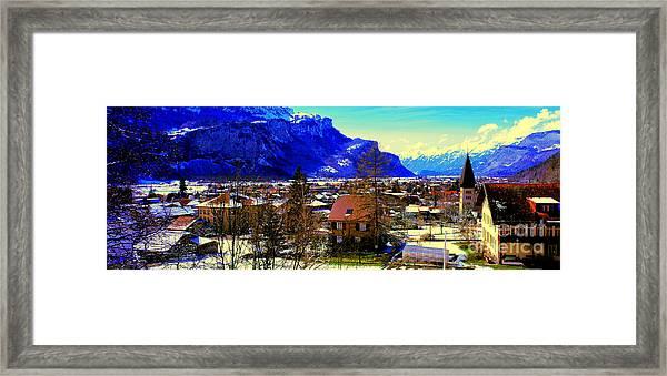 Meiringen Switzerland Alpine Village Framed Print